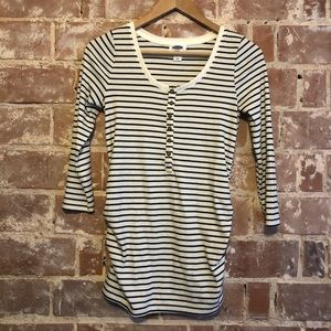 Black and White Striped Maternity Shirt